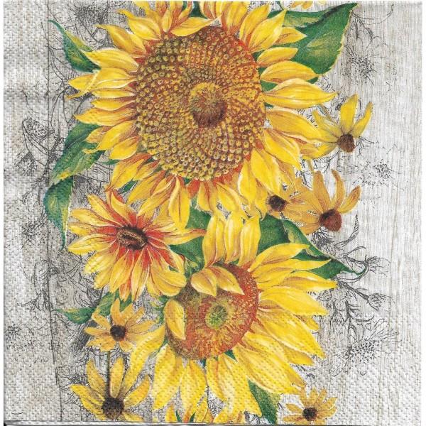 4 Serviettes en papier Le Tournesol Fleurs Format Lunch Decoupage Decopatch L-827039 IHR - Photo n°1