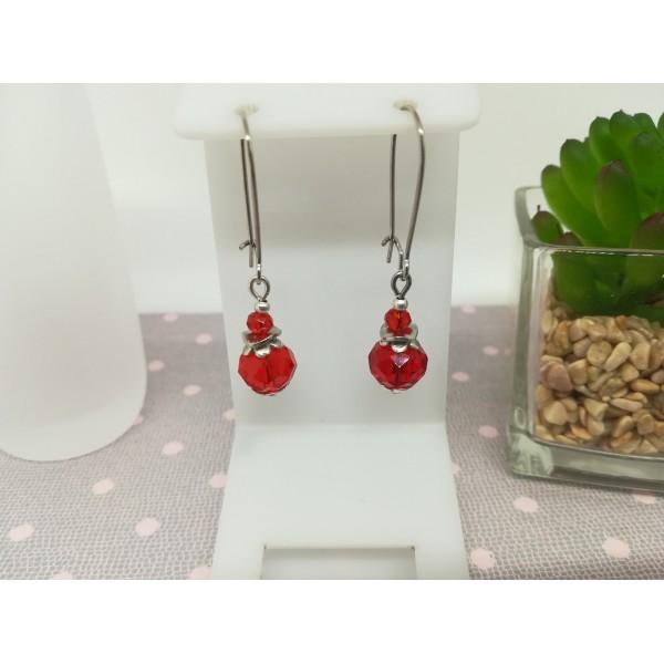 Kit boucles d'oreilles perle rouge à facette et apprêts argent mat - Photo n°1