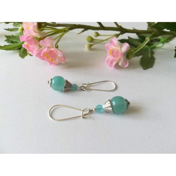Kit boucles d'oreilles perle imitation jade bleu pale et apprêts argent mat - Photo n°2