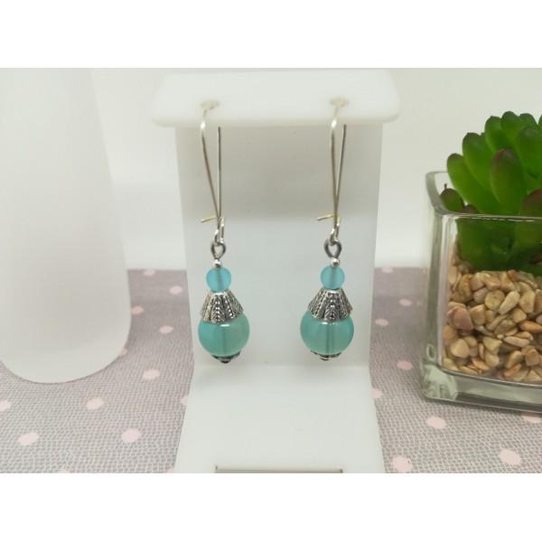 Kit boucles d'oreilles perle imitation jade bleu pale et apprêts argent mat - Photo n°1