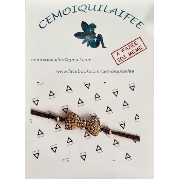 Kit bracelet tressé Noeud cristal Champagne fil Marron Clair - Photo n°1