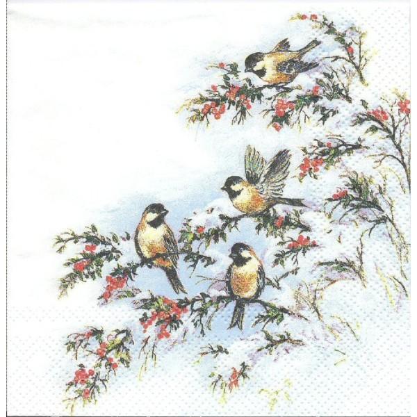 4 Serviettes en papier Oiseaux sur la branche Format Cocktail Decoupage 511334 Home Fashion - Photo n°1