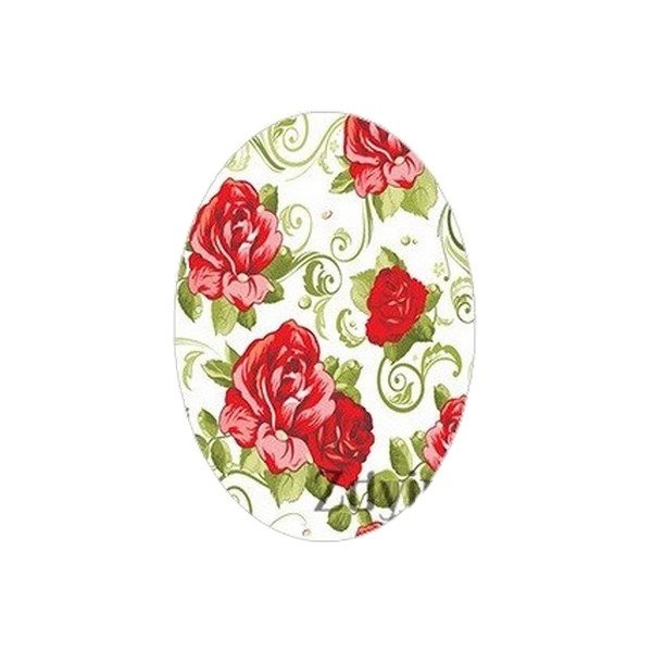 2 cabochons ovale en verre 18 x 25 mm ROSE ROUGE FEUILLAGE - Photo n°1