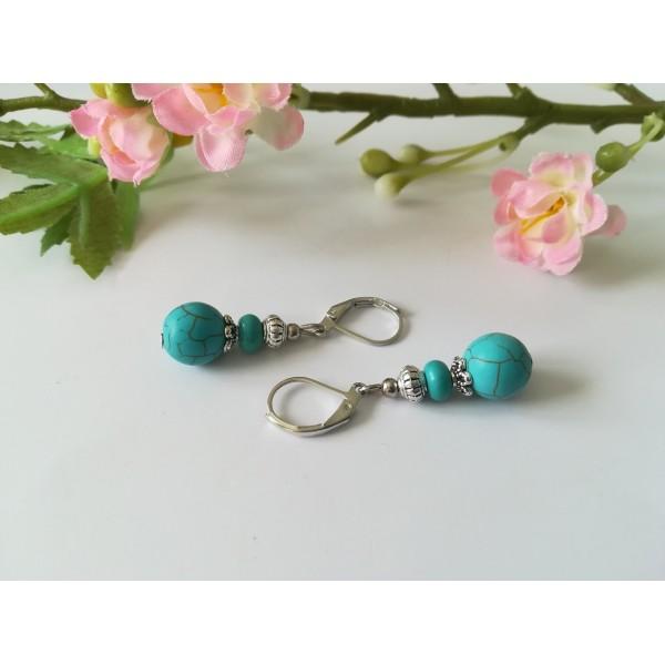 Kit boucles d'oreilles perles ronde et rondelle turquoise - Photo n°2