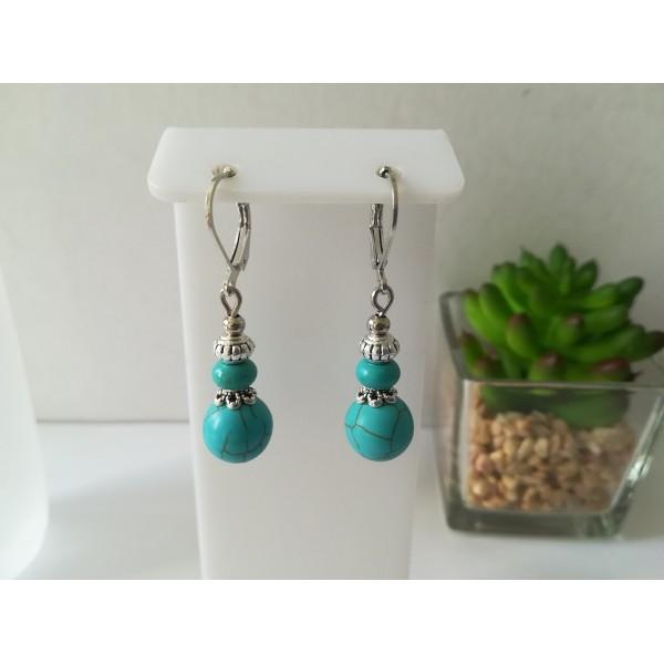 Kit boucles d'oreilles perles ronde et rondelle turquoise - Photo n°1