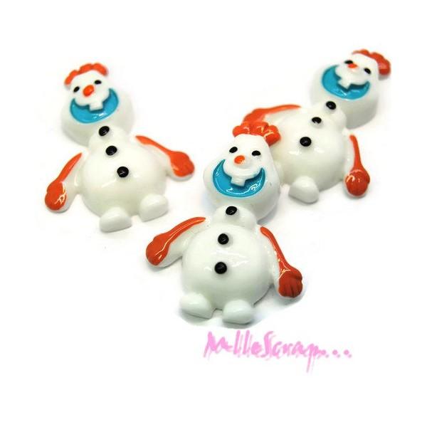 Cabochons bonhommes de neige résine - 3 pièces - Photo n°1