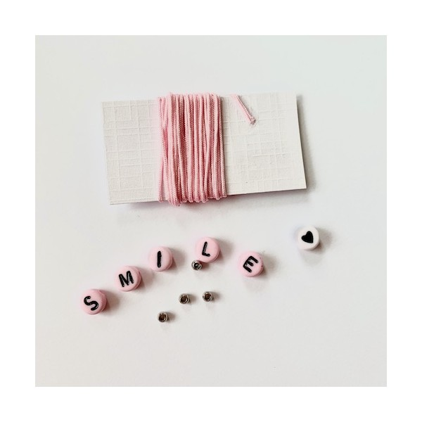 Kit Bracelet message SMILE rose - Photo n°2