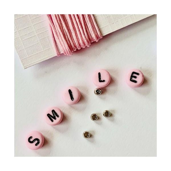 Kit Bracelet message SMILE rose - Photo n°4
