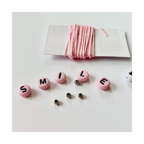 Kit Bracelet message SMILE rose - Photo n°5