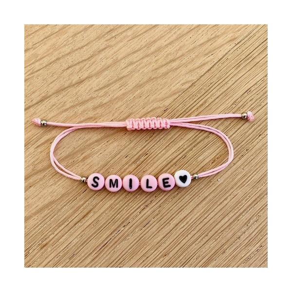 Kit Bracelet message SMILE rose - Photo n°1