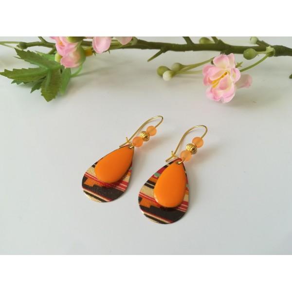 Kit de boucles d'oreilles gouttes métal et sequin émail orange - Photo n°2