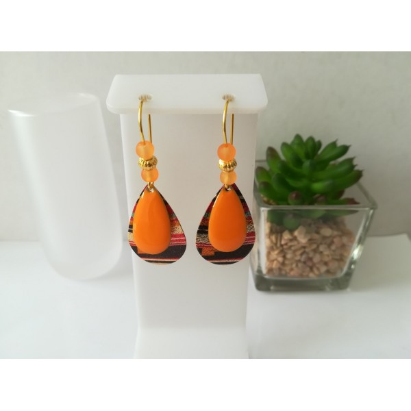 Kit de boucles d'oreilles gouttes métal et sequin émail orange - Photo n°1