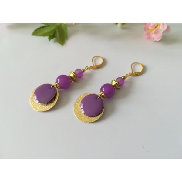 Kit boucles d'oreilles pendentif doré et perles violettes - Photo n°2