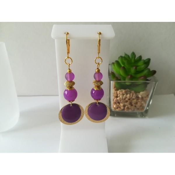 Kit boucles d'oreilles pendentif doré et perles violettes - Photo n°1