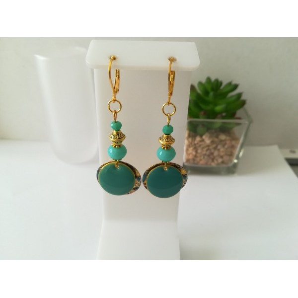 Kit boucles d'oreilles pendentif doré et perles vert d'eau - Photo n°1