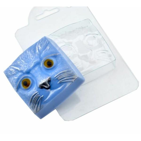 Savon en plastique de tête de chat 1pc, chocolat, gypse, moule de moule de fabrication de bougies - Photo n°1