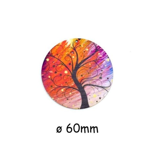 2 Pendentifs En Bois Arbre De Vie Orange, Rose Violine, Noir 60mm - Photo n°1