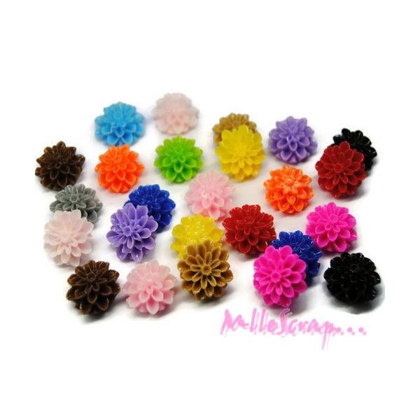 Cabochons fleurs dahlias résine multicolore - 25 pièces - Photo n°1