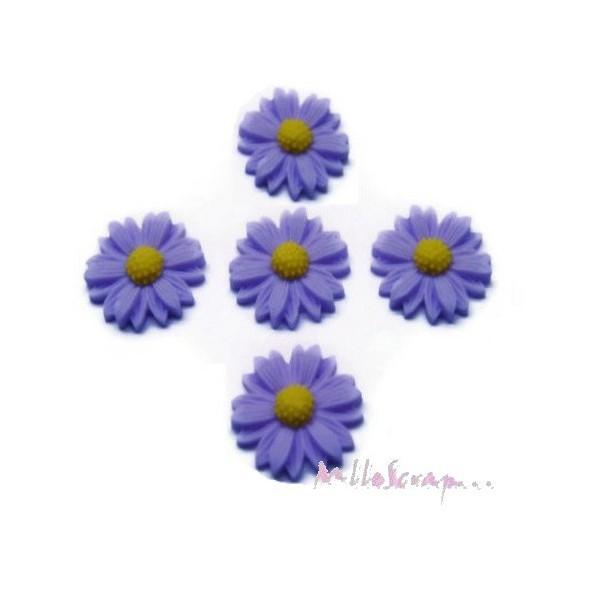 Cabochons fleurs paquerettes résine violet clair - 5 pièces - Photo n°1