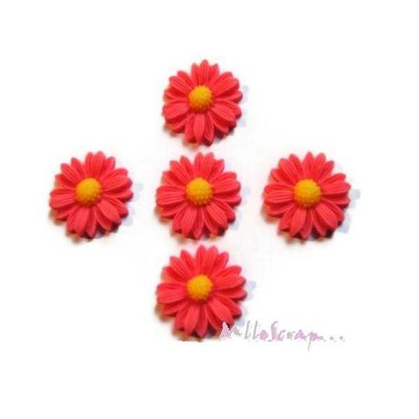 Cabochons fleurs paquerettes résine rose - 5 pièces - Photo n°1