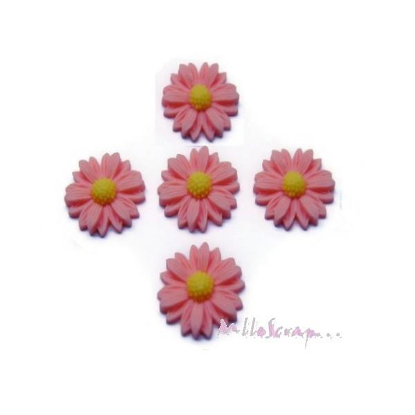 Cabochons fleurs paquerettes résine orange clair - 5 pièces - Photo n°1