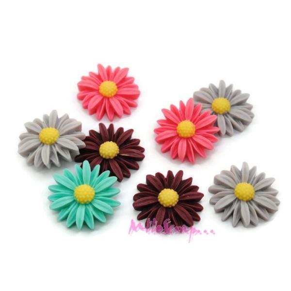 Cabochons paquerettes résine multicolore - 8 pièces - Photo n°1