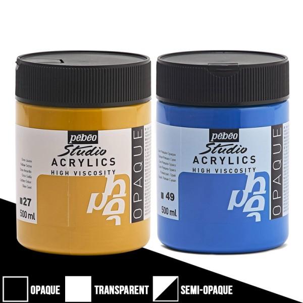 Peinture acrylique Pébéo Studio High Viscosity - Opaque - 500 ml - Photo n°1