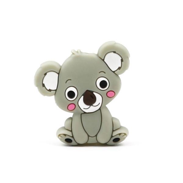 Perle Silicone Koala Gris Clair 28mm x 26mm Création bijoux - Photo n°1