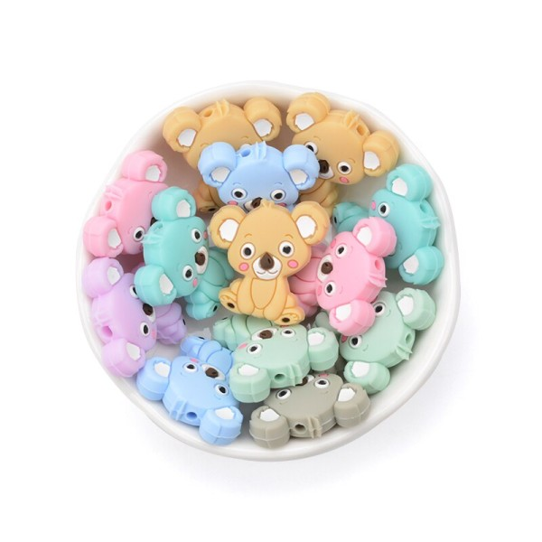 Perle Silicone Koala Rose Clair 28mm x 26mm Création bijoux - Photo n°2