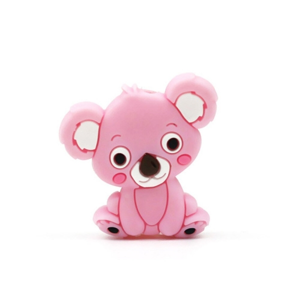Perle Silicone Koala Rose Clair 28mm x 26mm Création bijoux - Photo n°1