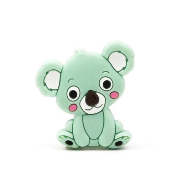 Perle Silicone Koala Vert Tilleul 28mm x 26mm Création bijoux - Photo n°1