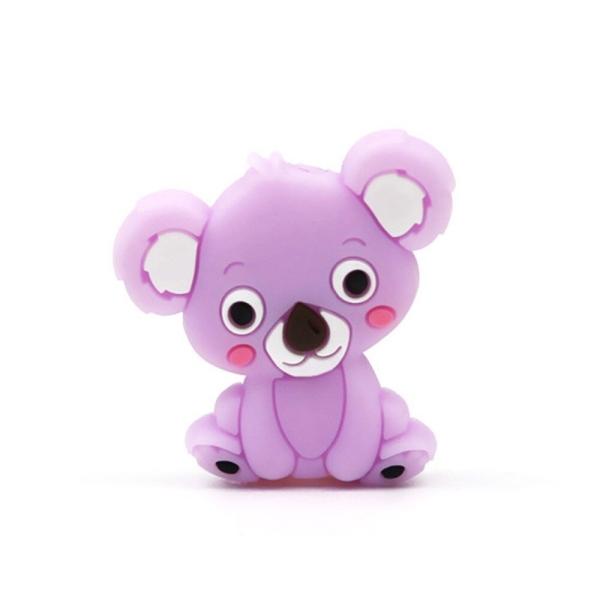 Perle Silicone Koala Violet Clair 28mm x 26mm Création bijoux - Photo n°1