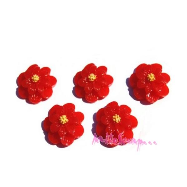 Cabochons fleurs résine rouge - 5 pièces - Photo n°1