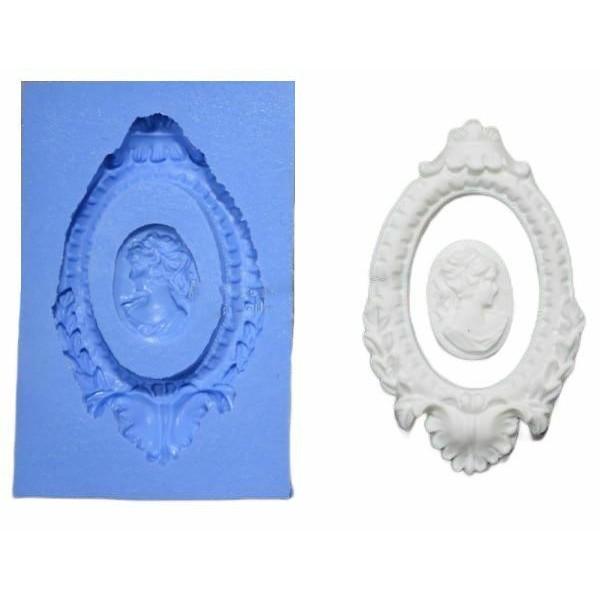 1 pc Baroque cadre Camée Femme 3d Silicone Uv résine époxy moule argile Scrapbooking moule bijoux ci - Photo n°1