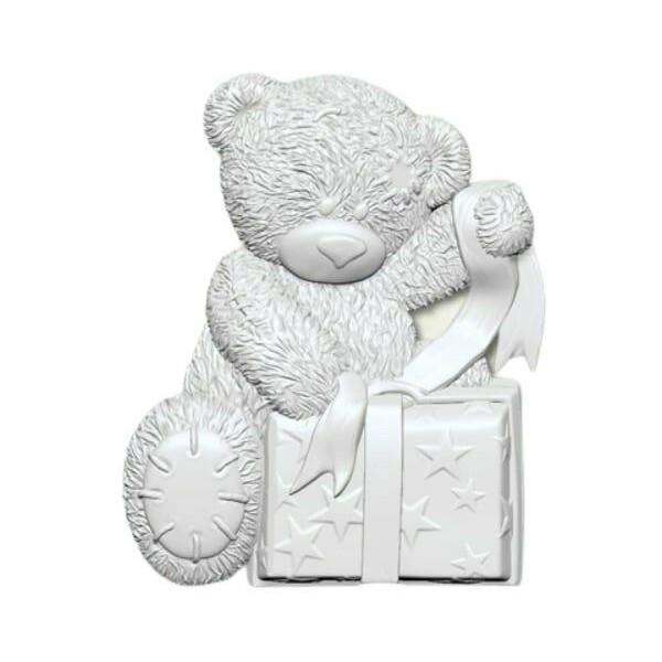 1pc moyen Ours En Peluche Avec Cadeau 3D Silicone Noël Uv résine époxy moule argile Scrapbooking mou - Photo n°1