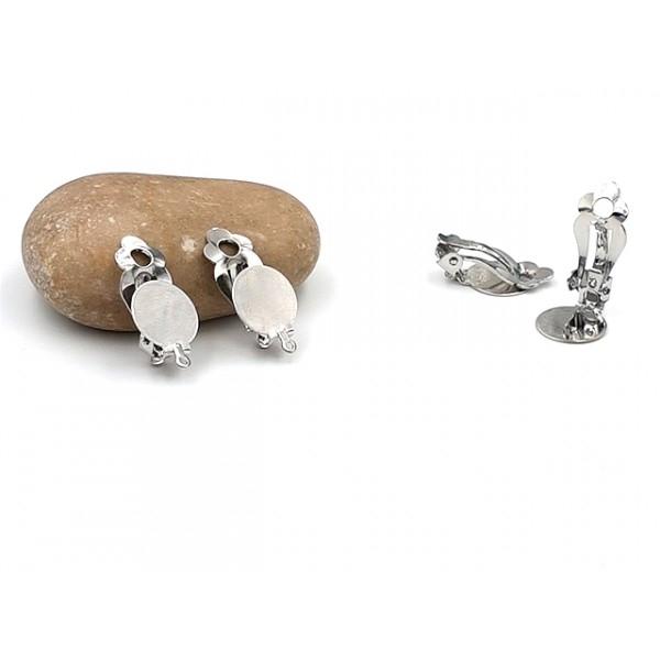10 Boucles D'oreilles Clips Cabochon 12mm Argent Platine - Photo n°1