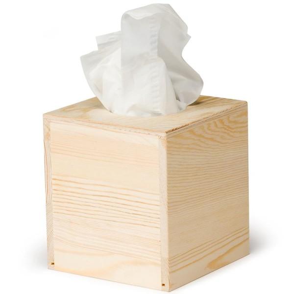Boite à mouchoir simple en bois carré 14 cm - Photo n°1