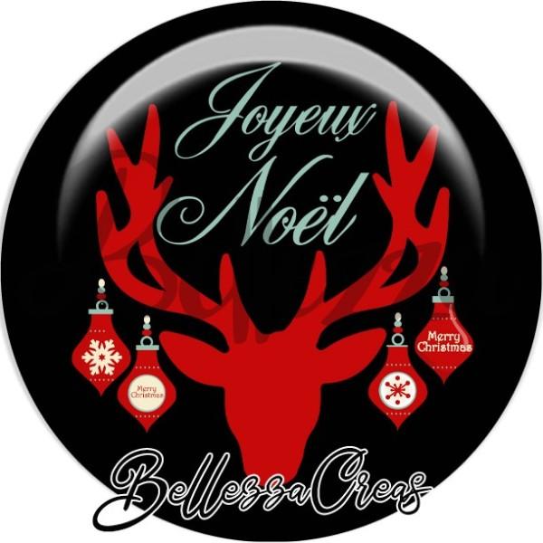 Cabochon, renne rouge, joyeux Noël, Noël, évènement, plusieurs tailles disponibles - Photo n°1