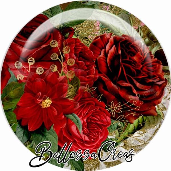 Cabochon, rose de Noël, Noël, évènement, plusieurs tailles disponibles - Photo n°1