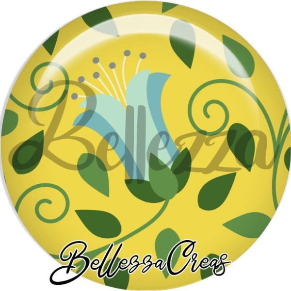 Cabochon, bleu, vert, moutarde, farandole, plusieurs tailles disponibles - Photo n°1