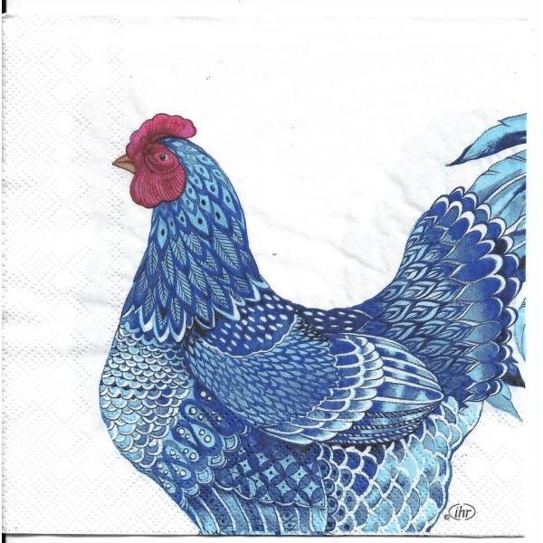 4 Serviettes en papier Coq Poule Plumage Bleu Format Lunch L-906000 IHR Decoupage Decopatch - Photo n°2