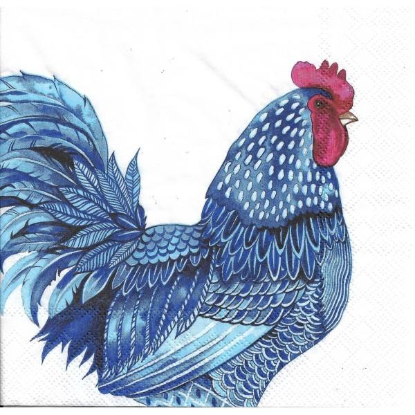 4 Serviettes en papier Coq Poule Plumage Bleu Format Lunch L-906000 IHR Decoupage Decopatch - Photo n°1