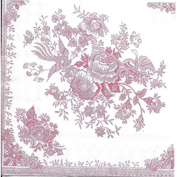 4 Serviettes en papier Asie Faisan Fleurs Format Lunch L-533210 IHR Decoupage Decopatch - Photo n°1