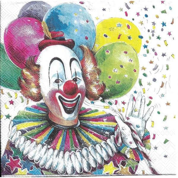 4 Serviettes en papier Clown Cirque Format Lunch L-899 IHR Decoupage Decopatch (2 modèles) - Photo n°2