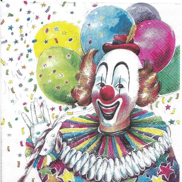 4 Serviettes en papier Clown Cirque Format Lunch L-899 IHR Decoupage Decopatch (2 modèles) - Photo n°4