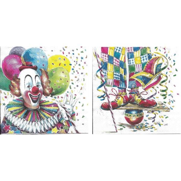 4 Serviettes en papier Clown Cirque Format Lunch L-899 IHR Decoupage Decopatch (2 modèles) - Photo n°1