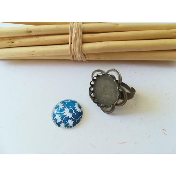 Kit bague forme fleur bronze avec cabochon verre 18 mm imprimé bleu foncé - Photo n°1