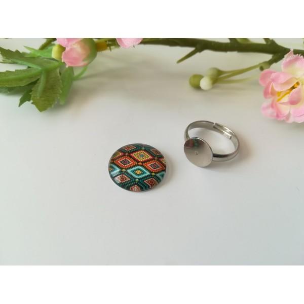 Kit bague réglable anneaux acier inoxydable et cabochon verre imprimé 18 mm - Photo n°1