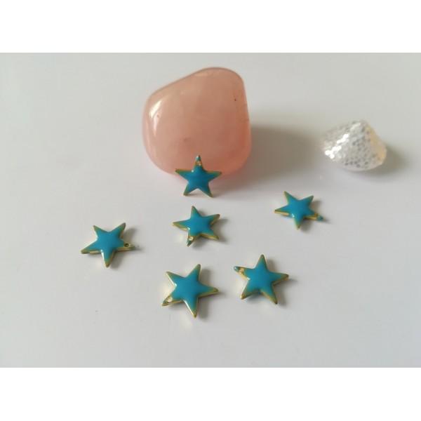 Breloque sequins émail étoile 12 mm bleu x 2 - Photo n°1