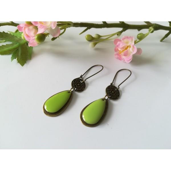 Kit boucles d'oreilles pendentif bronze et sequin émail vert - Photo n°2